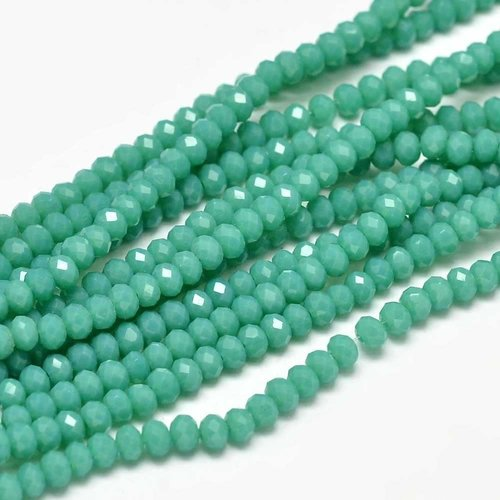 80 pieces Faceted Beads Deep Green 3x2mm