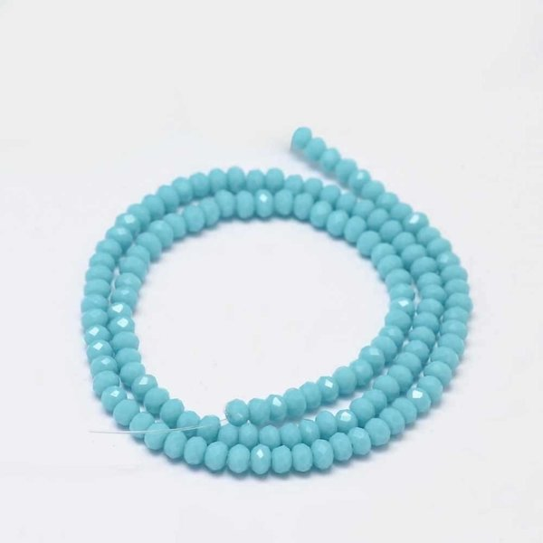 Faceted Glassbeads Turquoise 3x2mm, 80 pieces