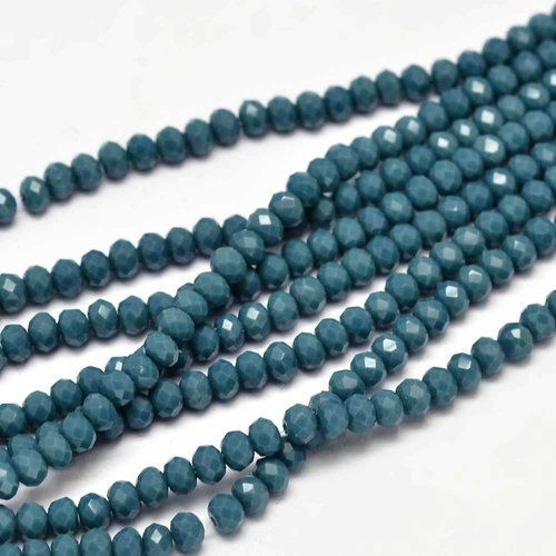 80 pieces Faceted Beads Denim Blue 3x2mm