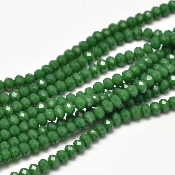 Faceted Glassbeads Grass Green 3x2mm, 80 pieces