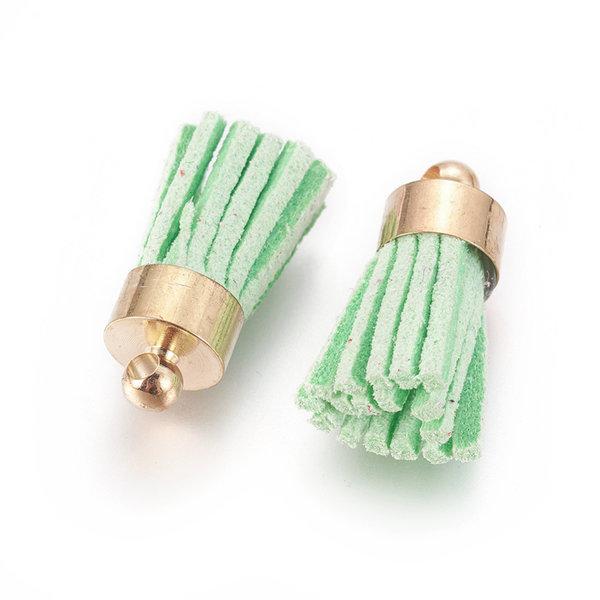 Suede Kwastje Mint Groen 17x7mm Goud, 5 stuks