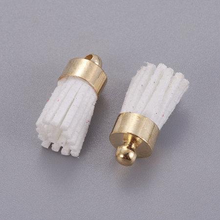 Suede Tassel White 17x7mm Golden, 5 pieces
