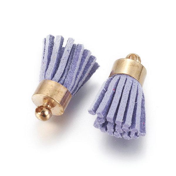 Suede Tassel Purple 17x7mm Golden, 5 pieces