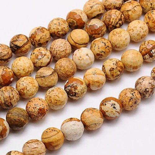 Natural Jasper Faceted Beads Brown 10mm, strand 35 pieces
