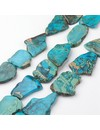 Natural Imperial Jaspis Flat Slab Beads 32~54x20~40mm, 4 pieces