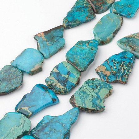Natural Imperial Jaspis Flat Slab Beads, 4 pieces