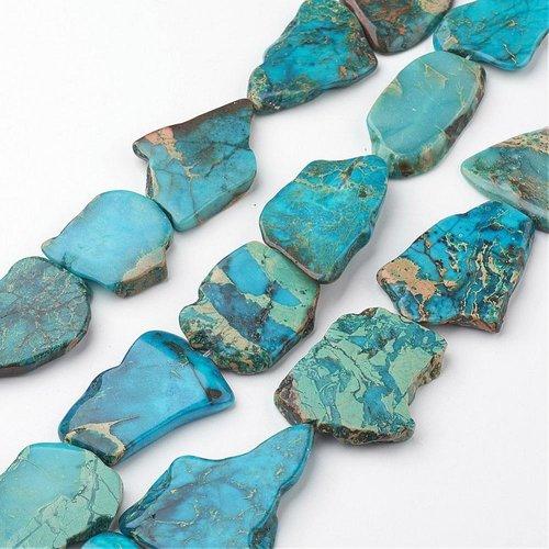 Natural Imperial Jaspis Flat Slab Kralen, 4 stuks