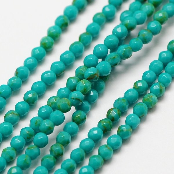 Natural Turquoise Gemstone Faceted Beads 2mm, strand 36cm, 174 pieces