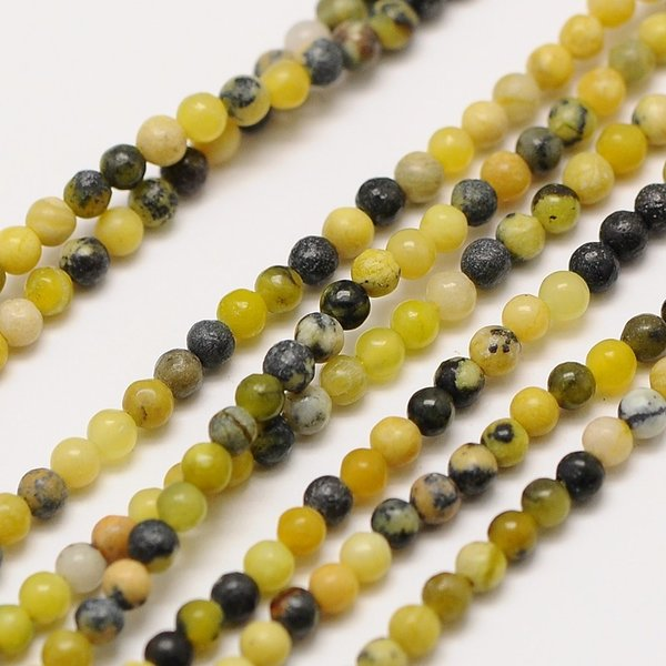 Natural Yellow Turquoise Gemstone Beads 2mm, strand 40cm, 174 pieces