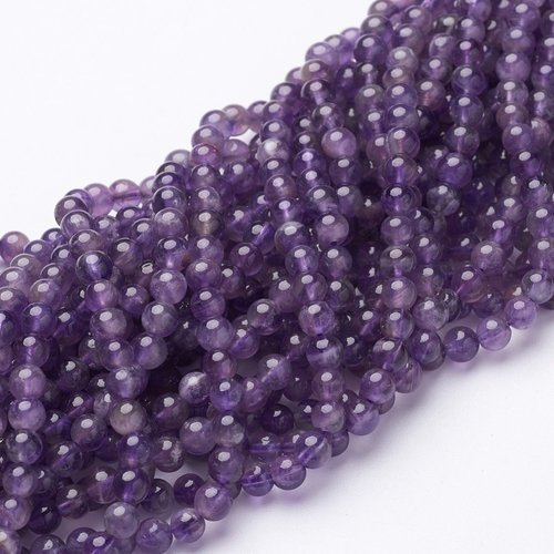 Natural Amethyst  Beads 4mm, strand 85 pieces