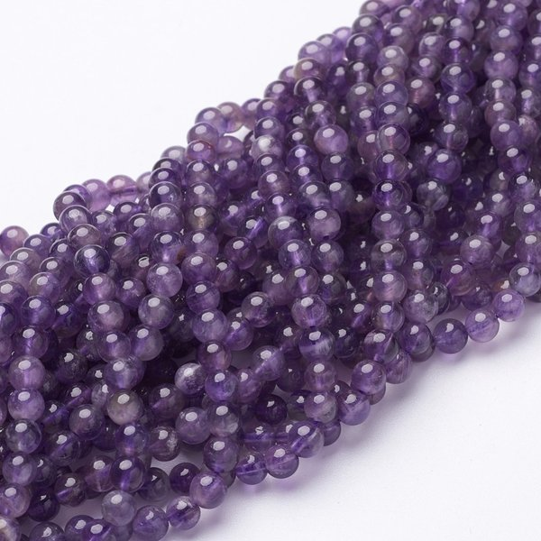 Natural Amethyst Gemstone Beads 4mm, strand 40cm 85 pieces