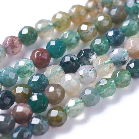 Natural Indian Agate Faceted Beads 2mm, strand 180 pieces