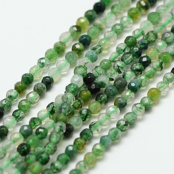 Natural Moss Agate Gemstone Faceted Beads 2mm, strand 40cm, 180 pieces