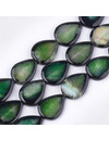Natural Crackle Agate Teardrop Beads Emerald 40x30mm, strand 9 pieces