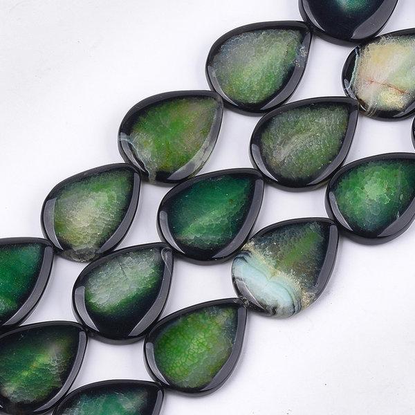 Natural Agaat Druppel Kralen Emerald 40x30mm, streng 9 stuks