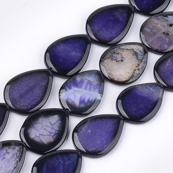Natural Crackle Agate Teardrop Beads Mauve 40x30mm, strand 9 pieces