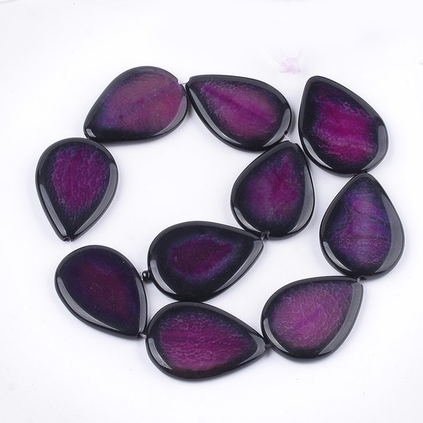 Natural Crackle Agate Teardrop Beads Aubergine 40x30mm, strand 9 pieces