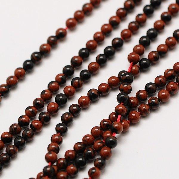 Natural  Mahogany Obsidian Gemstone Beads 2mm, strand 40cm, 174 pieces
