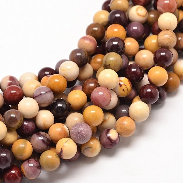 Natural Mookaite Beads 6mm, strand of 38cm, 52 pieces
