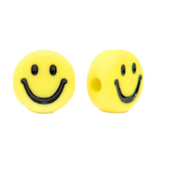 Smiley Kralen Acryl Geel 7mm, 10 stuks