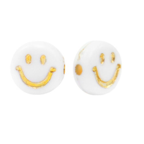 10 pieces Smiley Beads White with Gold 7mm