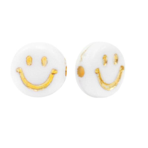 Smiley Kralen Acryl Wit met Goud 7mm, 10 stuks
