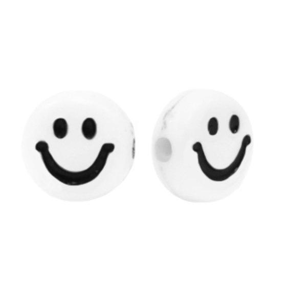 Smiley Kralen Acryl Wit met Zwart 7mm, 10 stuks
