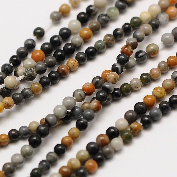 Natural  Picasso Jasper Gemstone Beads 2mm, strand 40cm, 174 pieces
