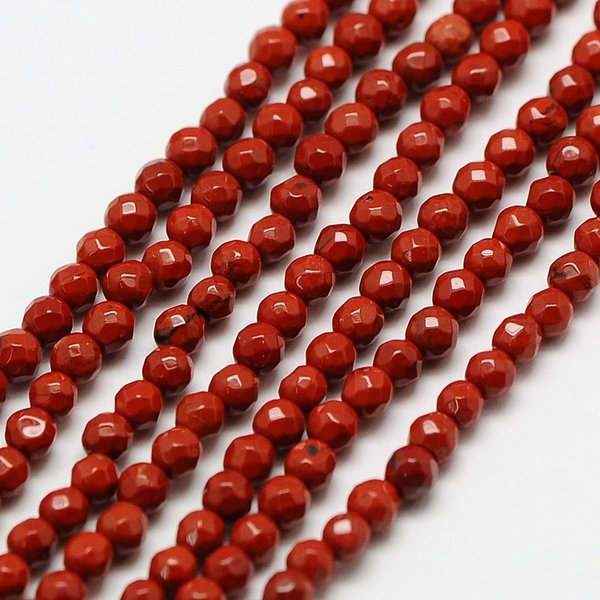 Natural Red Jasper Gemstone Faceted Beads 2mm, strand 39cm, 180 pieces