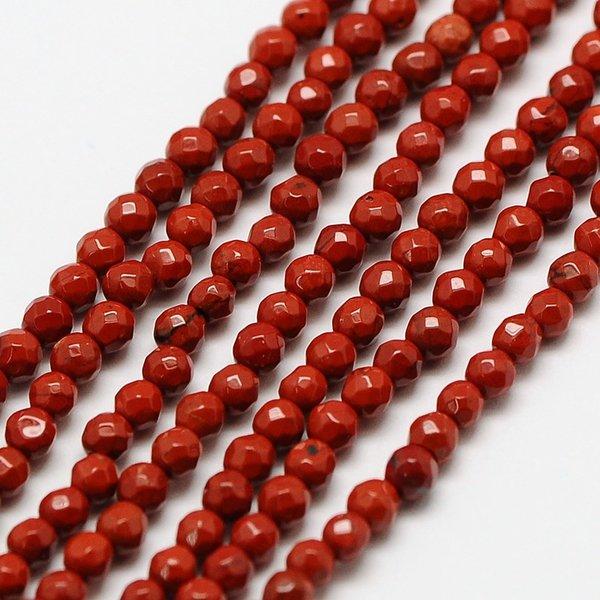 Natural Rode Jaspis Edelsteen Facetkralen 2mm, streng 39cm, 180 stuks