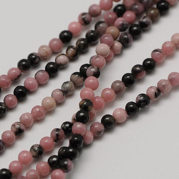 Natural  Rhodonite Gemstone Beads 2mm, strand 40cm, 174 pieces