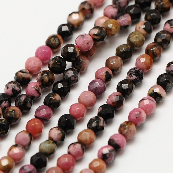Natural Rhodonite Gemstone Faceted Beads 2mm, strand 39cm, 180 pieces