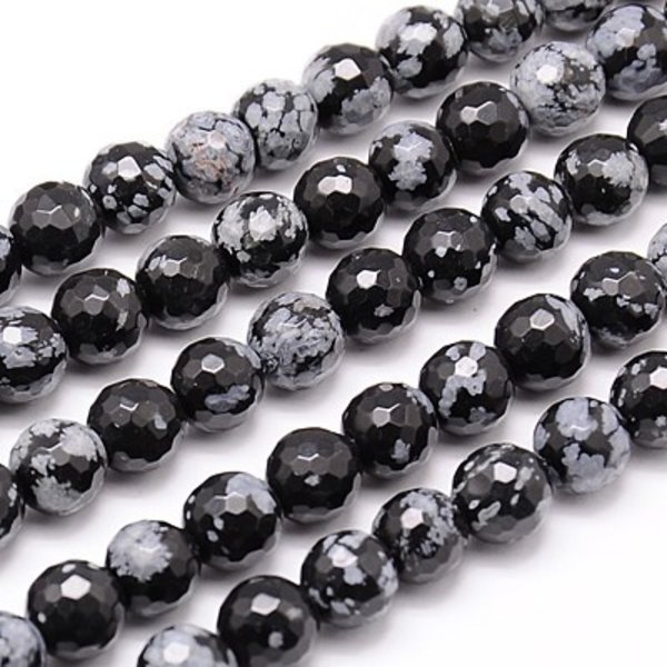 Natural Sneeuwvlok Obsidiaan Facetkralen 10mm, streng 40cm,  34 stuks