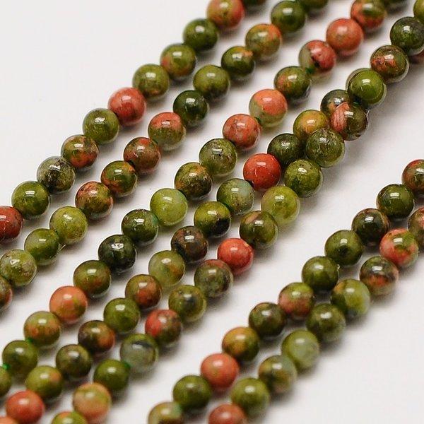 Natural Unakite Gemstone Beads 2mm, strand 40cm, 174 pieces