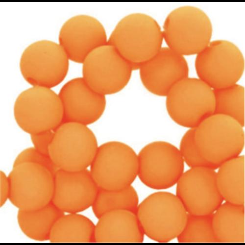 100 stuks Matte Acryl Kralen Oranje  6mm