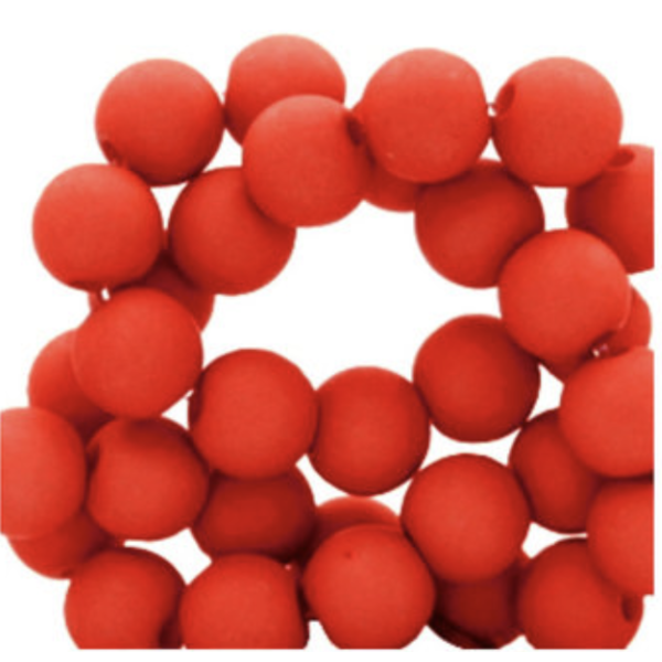 100 pieces Matte Red Acrylic Beads 6mm