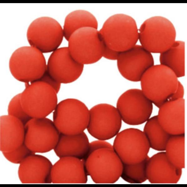100 stuks Matte Acryl Kralen rood 6mm