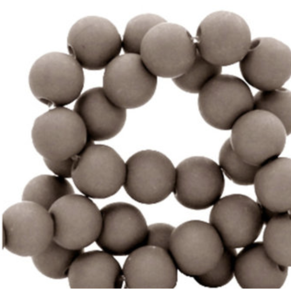 200 pieces Matte Taupe Acrylic Beads 4mm