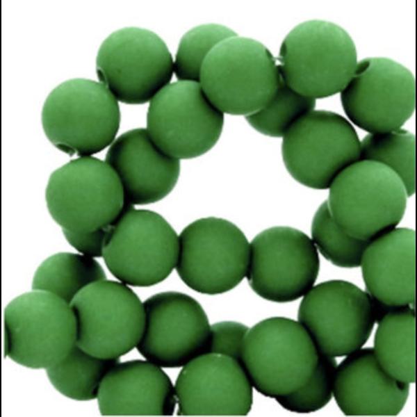 100 pieces Matte Grass Green Acrylic Beads 6mm
