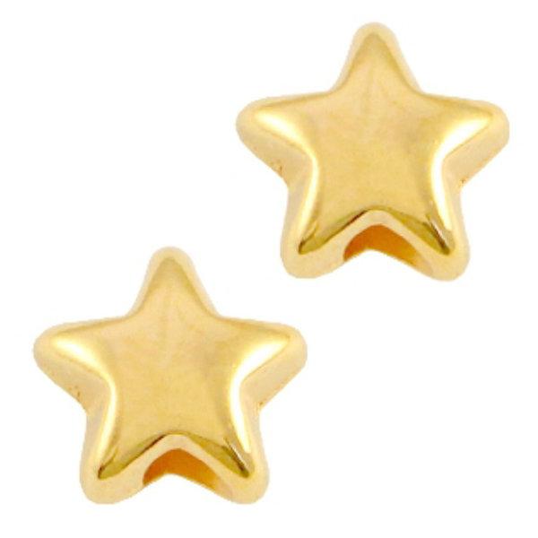 30 pieces Designer Quality Star Beads 6x3.6mm Nickel Free Golden