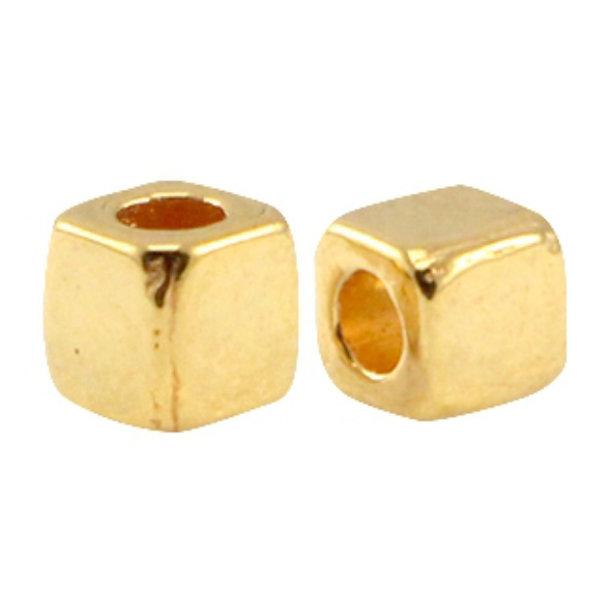60 stuks Designer Quality Cube Kralen 3mm Nikkelvrij Goud