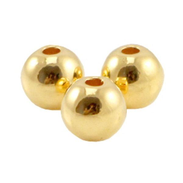 20 pieces Designer Quality Round Beads 6mm Nickel Free Golden