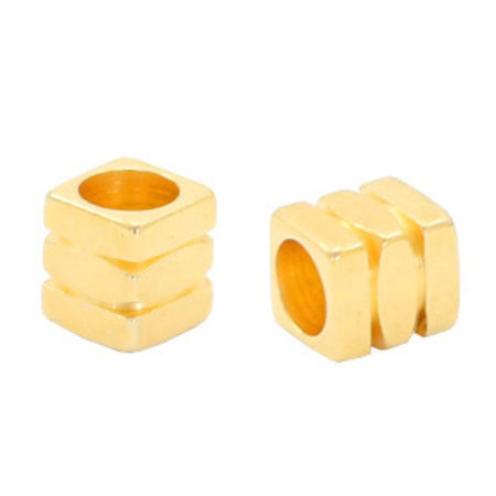 32 pieces Designer Quality Beads 4x4.3mm Nickel Free Golden