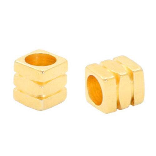 32 stuks Designer Quality Kralen 4x4.3mm Nikkelvrij Goud