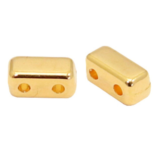 20 pieces Designer Quality Duo Beads 6x3mm Nickel Free Golden