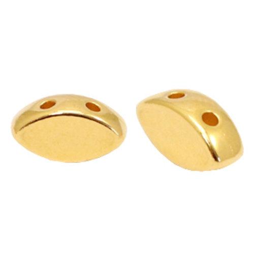 12 pieces Designer Quality Duo Beads 8x4mm Nickel Free Golden