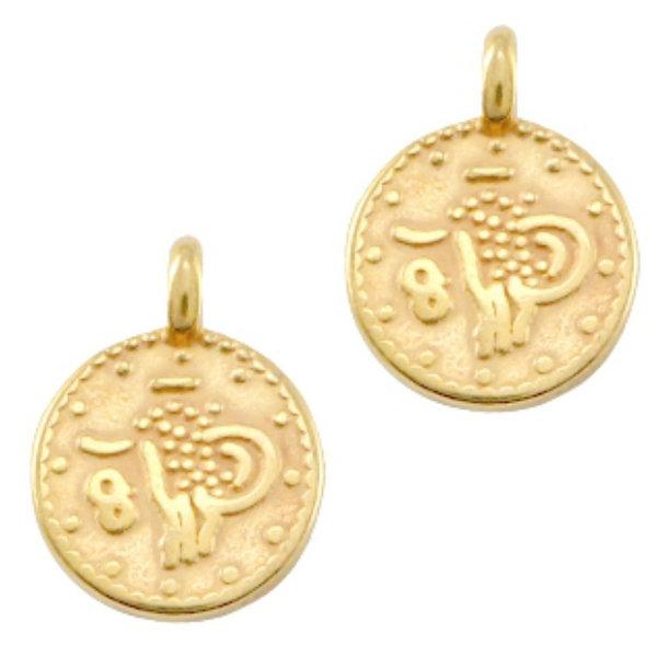 Designer Quality Coin Charm Golden Nickel Free 9.5x7.5mm