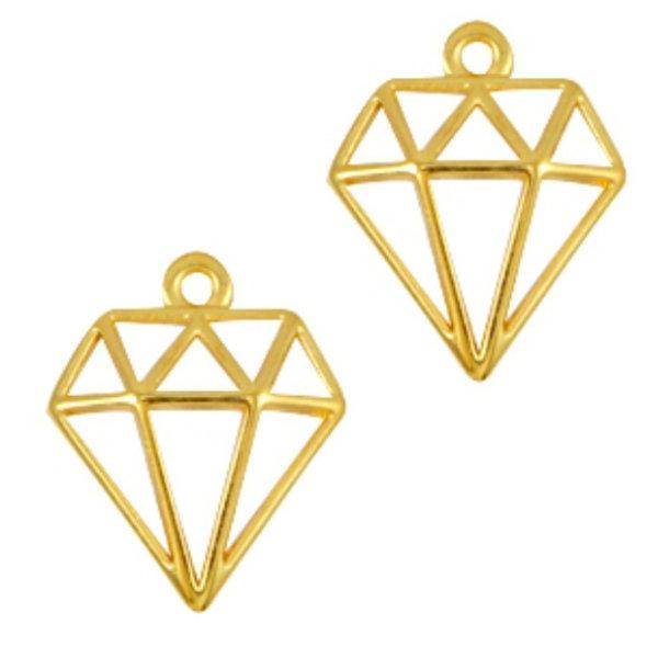 Designer Quality Bedel Diamant Goud 18x16mm Nikkelvrij