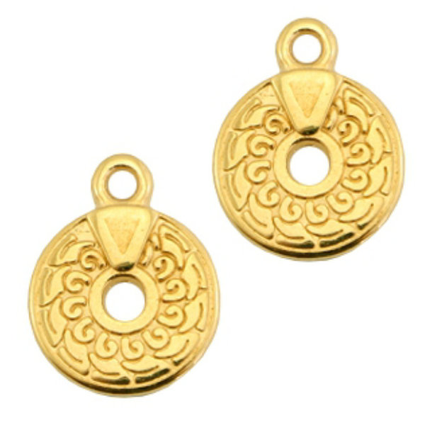 Designer Quality Bohemian Charm with hole Golden Nickel Free 14x11mm