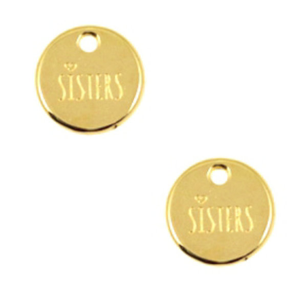 Designer Quality Charm Sisters Round Golden Nickel Free 12mm